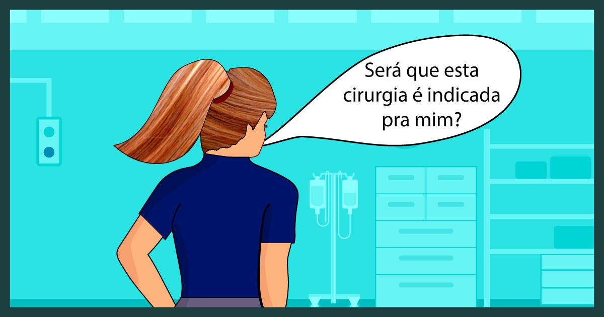 mulher questionando em uma clínica médica sobre cirurgia